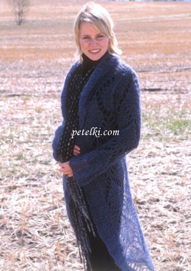 Длинное пальто с ажурным