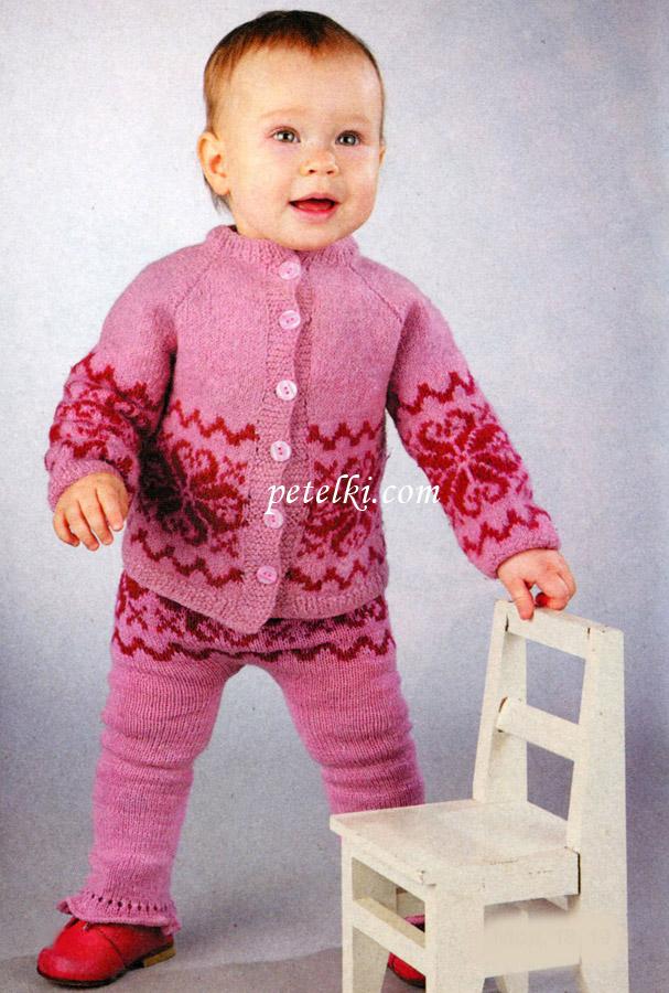 Вязание костюма для девочки до года спицами