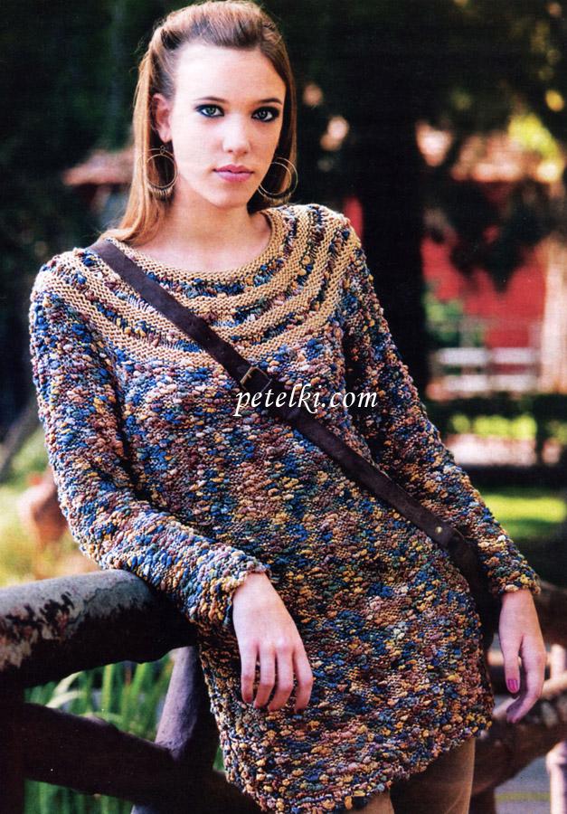 Схема вязания модели женского пуловера из пряжи двух цветов