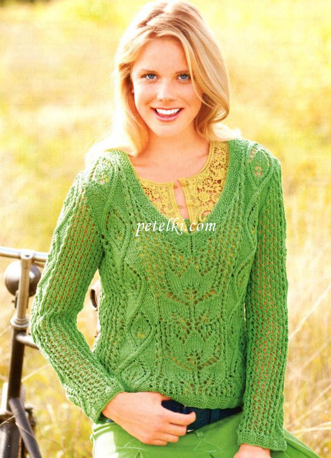 Ажурный пуловер из микса