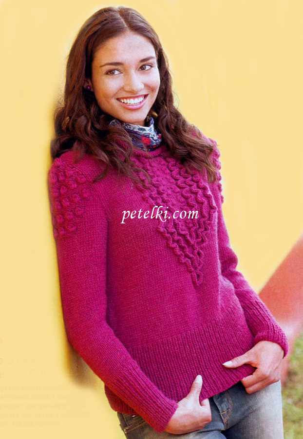 Пуловер с рюшами связанный