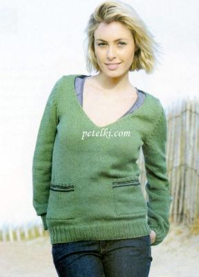 Пуловер с карманами - варежками