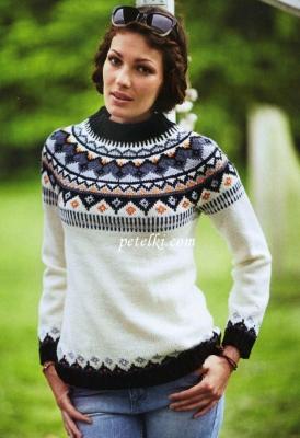 Бесшовный свитер с круглой кокеткой