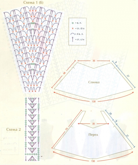 Расклешенные туники крючком со схемами