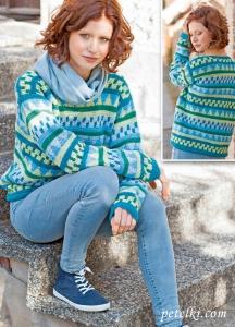 Жаккардовый пуловер вязаный крючком