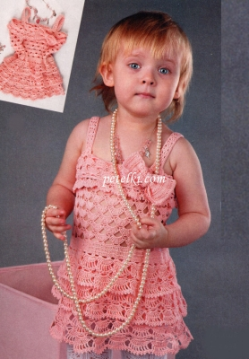 Вязание крючком ажурное детское платье