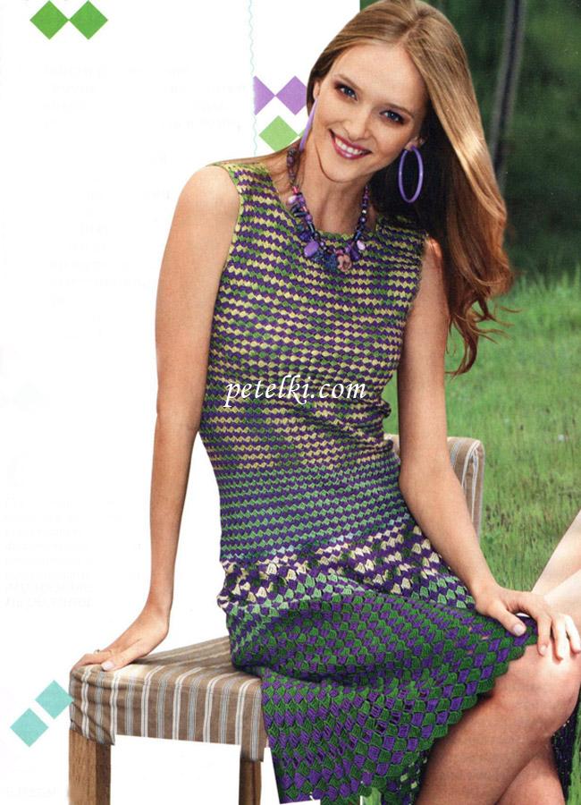Летний комплект для девочки крючком (платье трусики панама)