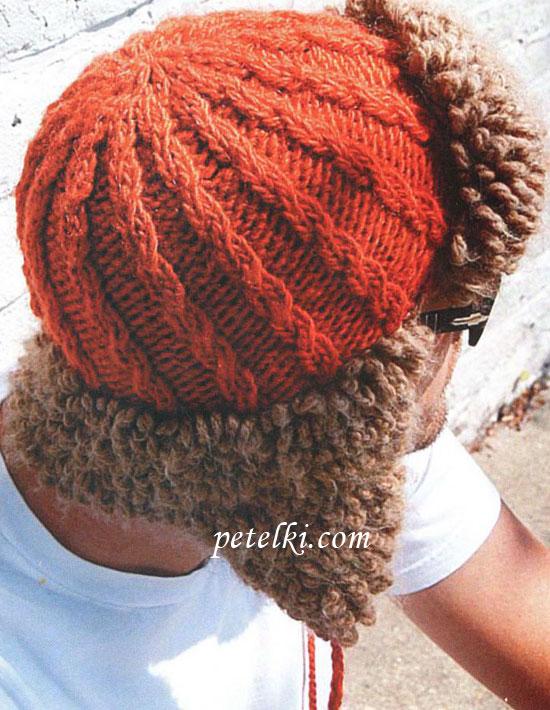 вязаная шапка ушанка для мужчин