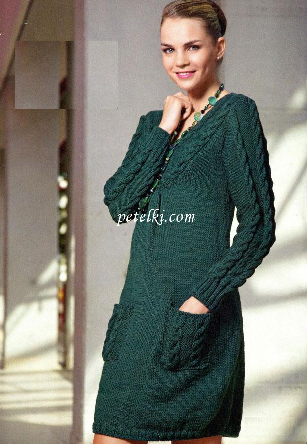 Вязание платье спицами хлопок 21