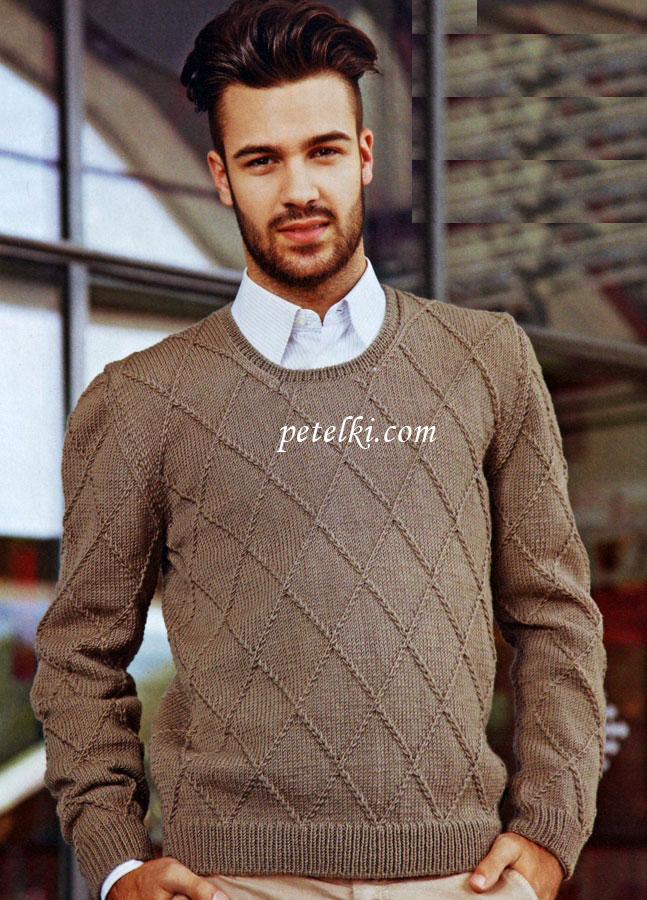 Вязание спицами свитер мужского 200