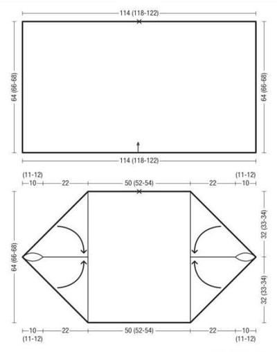 вязаный жакет из прямоугольника