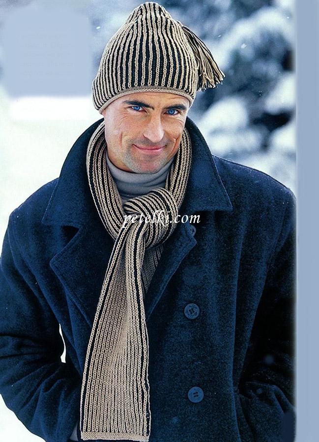вязание шапки двухцветной английской резинкой