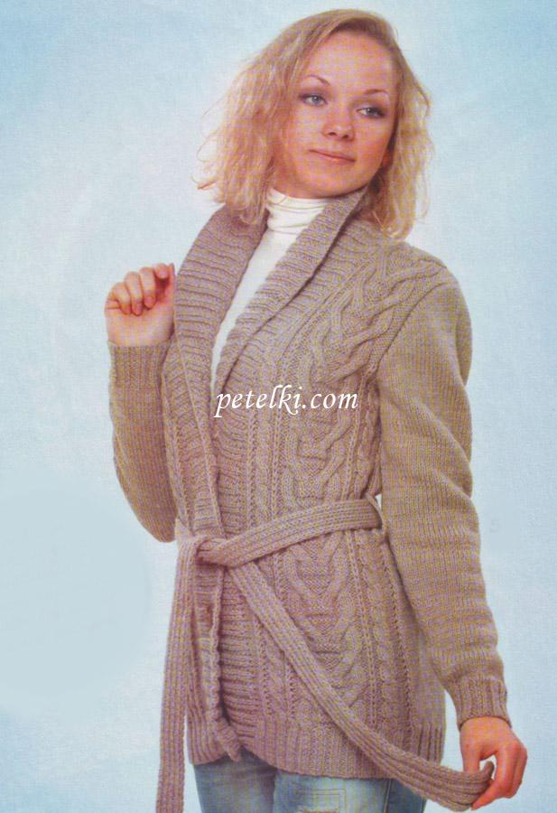 Вязание кардигана спицами для женщин с описанием и схемами ...